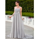 Empire Strapless Court Train Chiffon Charmeuse Evening Dress With Ruffle Beading