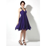 Empire Scoop Neck Knee-Length Chiffon Satin Homecoming Dress With Ruffle Beading