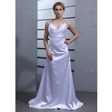 Empire V-neck Watteau Train Charmeuse Wedding Dress With Ruffle Lace Beading