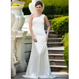 Sheath/Column One-Shoulder Sweep Train Charmeuse Wedding Dress With Ruffle