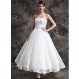 A-Line/Princess Strapless Ankle-Length Organza Satin Wedding Dress With Lace Beadwork
