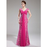 Sheath V-neck Watteau Train Chiffon Lace Prom Dress With Ruffle Beading