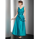 A-Line/Princess V-neck Ankle-Length Taffeta Mother of the Bride Dress With Ruffle Beading