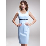 Empire Square Neckline Knee-Length Satin Bridesmaid Dress With Sash
