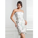 Sheath Strapless Short/Mini Satin Cocktail Dress With Beading Feather Flower(s) Sequins (016020688)