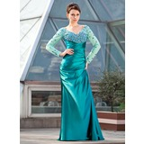 Sheath/Column Off-the-Shoulder Sweep Train Tulle Charmeuse Mother of the Bride Dress With Ruffle Beading Sequins
