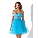Empire Sweetheart Short/Mini Chiffon Tulle Homecoming Dress With Ruffle Beading