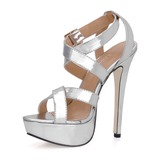 Patent Leather Stiletto Heel Sandals Platform Slingbacks With Buckle shoes (087015276)