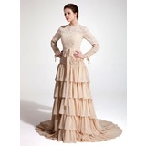 A-Line/Princess High Neck Court Train Chiffon Lace Evening Dress With Ruffle
