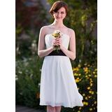 Empire Strapless Knee-Length Chiffon Bridesmaid Dress With Sash