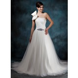 Ball-Gown One-Shoulder Chapel Train Satin Tulle Wedding Dress With Ruffle Beading Bow(s)