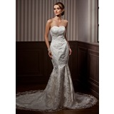 Mermaid Sweetheart Chapel Train Satin Lace Wedding Dress With Beadwork Sequins
