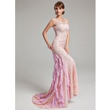 Mermaid Scoop Neck Sweep Train Chiffon Tulle Prom Dress With Lace Beading