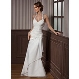 Trumpet/Mermaid Halter Floor-Length Chiffon Satin Wedding Dress With Lace Beading Sequins Cascading Ruffles
