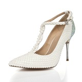 Patent Leather Stiletto Heel Pumps Closed Toe shoes (085055829)