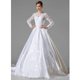 Ball-Gown V-neck Chapel Train Satin Wedding Dress With Ruffle Lace Bow(s)