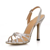Patent Leather Stiletto Heel Sandals Slingbacks With Buckle shoes (087016989)