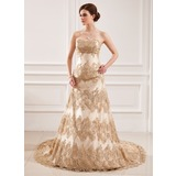 A-Line/Princess Sweetheart Court Train Satin Lace Wedding Dress With Beadwork Sequins (002011432)