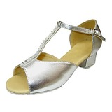 Leatherette Patent Leather Sandals Flats Latin Dance Shoes With Rhinestone T-Strap