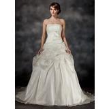 De baile Sem Alças Cauda de sereia Organza de Vestido de noiva com Pregueado Renda Bordado