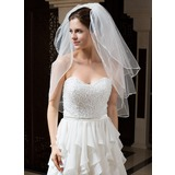 Three-tier Elbow Bridal Veils With Ribbon Edge
