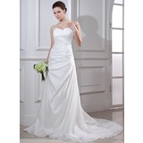 Trumpet/Mermaid Sweetheart Court Train Taffeta Wedding Dress With Ruffle Beading Appliques Lace