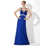 Sheath Halter Sweep Train Chiffon Holiday Dress With Ruffle Beading