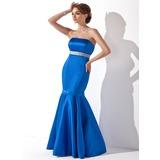 Trumpet/Mermaid Strapless Floor-Length Satin Bridesmaid Dress With Sash