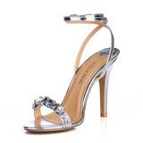 Leatherette Stiletto Heel Sandals Slingbacks With Rhinestone shoes (087015254)