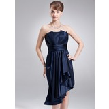 Sheath Scalloped Neck Asymmetrical Charmeuse Holiday Dress With Ruffle