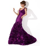 Mermaid Scoop Neck Court Train Taffeta Evening Dress With Ruffle Flower(s) (017013776)