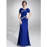 A-Line/Princess Scoop Neck Floor-Length Chiffon Mother of the Bride Dress With Ruffle Beading Appliques Sequins