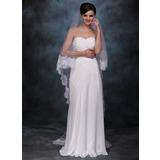 Two-tier Chapel Bridal Veils With Lace Applique Edge