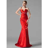 Mermaid V-neck Court Train Charmeuse Evening Dress With Ruffle Beading (017002534)