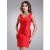 Sheath V-neck Knee-Length Satin Bridesmaid Dress With Ruffle (007000945)