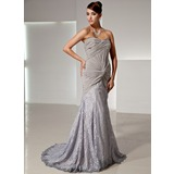 Mermaid Sweetheart Sweep Train Chiffon Lace Evening Dress With Ruffle (017014446)