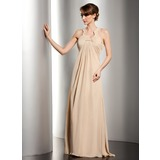 Empire Scoop Neck Floor-Length Chiffon Mother of the Bride Dress With Ruffle Beading