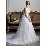 Ball-Gown V-neck Chapel Train Satin Wedding Dress With Lace Beadwork (002011394)