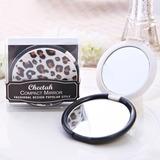 Leopard Design Plastic/Glass Compact Mirror
