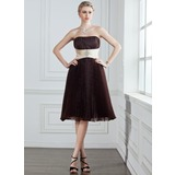 Empire Strapless Knee-Length Organza Charmeuse Bridesmaid Dress With Sash Beading Pleated