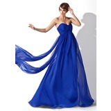 Empire Sweetheart Watteau Train Chiffon Evening Dress With Ruffle (017020709)