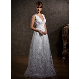 A-Line/Princess V-neck Floor-Length Satin Tulle Wedding Dress With Lace