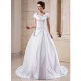 Ball-Gown Scoop Neck Chapel Train Satin Wedding Dress With Embroidery Beadwork (002001624)