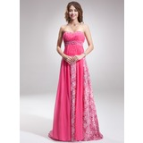 Empire Sweetheart Sweep Train Chiffon Lace Prom Dress With Ruffle Beading
