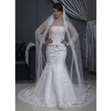 Trumpet/Mermaid Strapless Chapel Train Satin Tulle Wedding Dress With Lace Beading Bow(s)