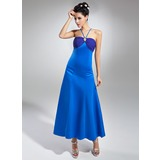 Empire V-neck Ankle-Length Chiffon Satin Bridesmaid Dress With Ruffle Beading