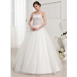 Ball-Gown Floor-Length Satin Tulle Wedding Dress With Lace Beading