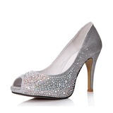 Real Leather Sparkling Glitter Spool Heel Peep Toe Pumps With Rhinestone (086025049)
