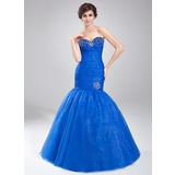 Mermaid Sweetheart Floor-Length Organza Prom Dress With Ruffle Beading (018020791)