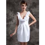 Sheath/Column V-neck Short/Mini Taffeta Wedding Dress With Cascading Ruffles